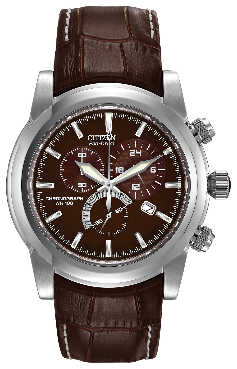 2ca22aab3 Chandler - Men's Eco-Drive Brown Leather Chronograph Watch | Citizen