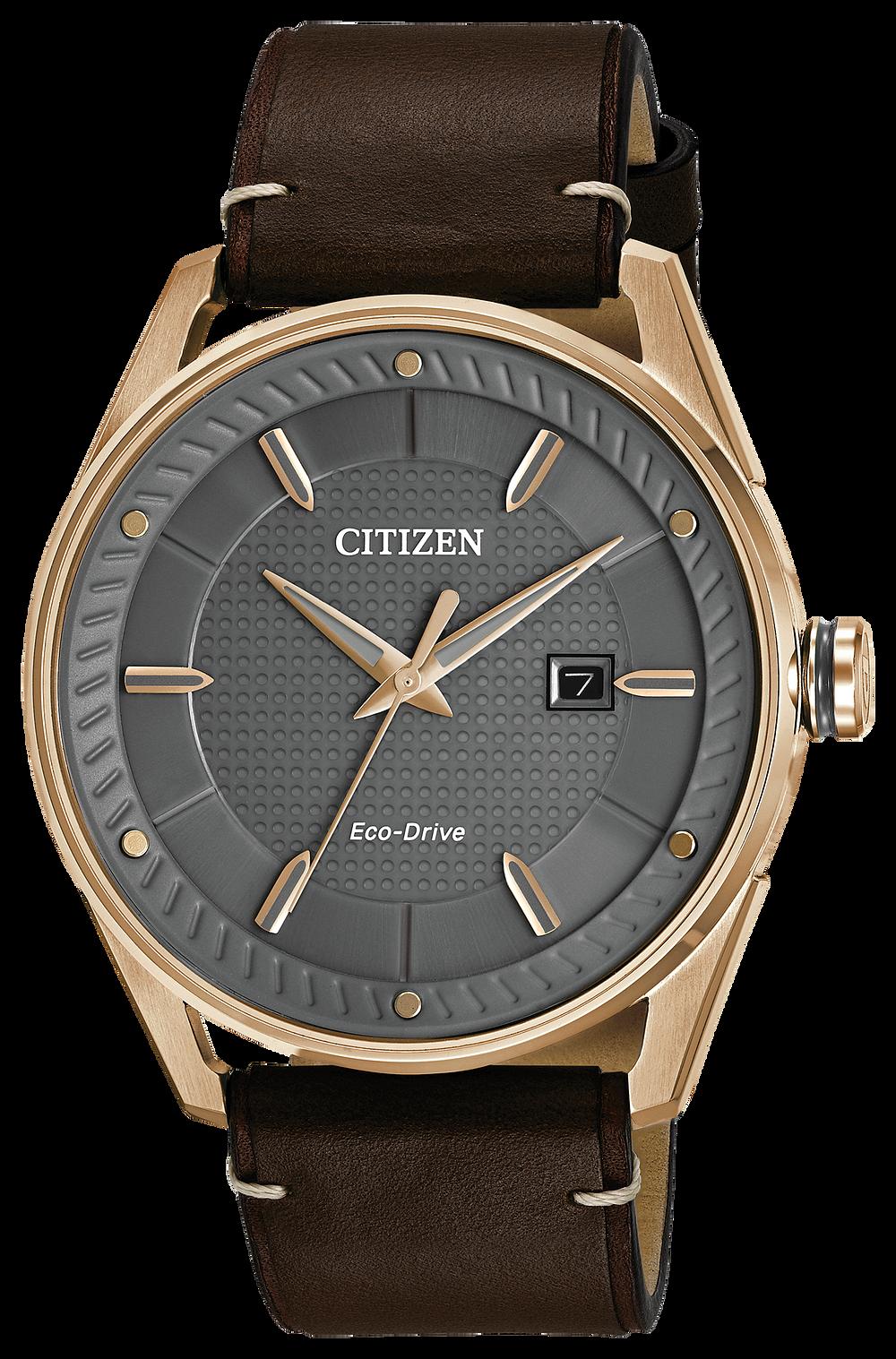 1ce3ef98b CTO-Men's Eco-Drive BM6983-00H Rose Gold Leather Strap Watch | Citizen