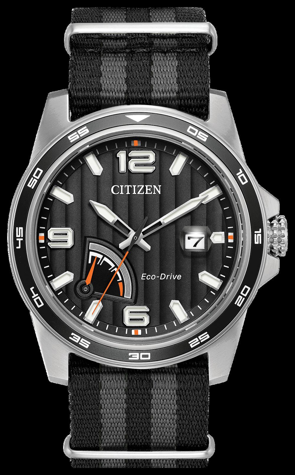 7368aebb3f14a PRT - Men s Eco-Drive AW7030-06E Black Tone Steel Case Watch