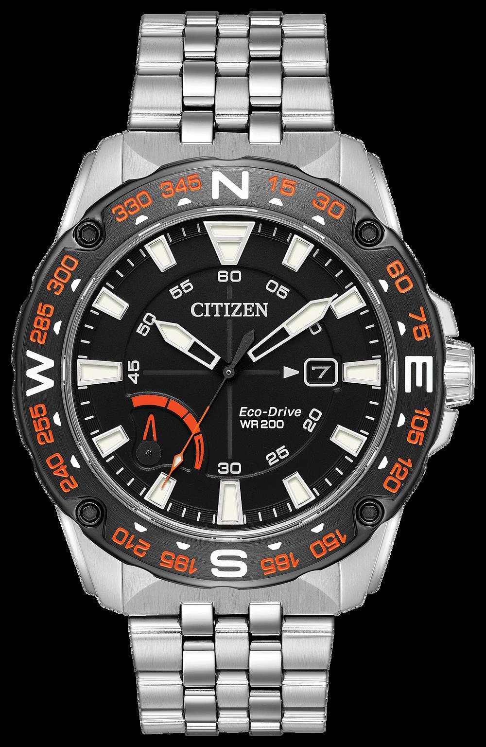PRT- Men's Eco-Drive AW7048-51E Orange Accent Dial Watch