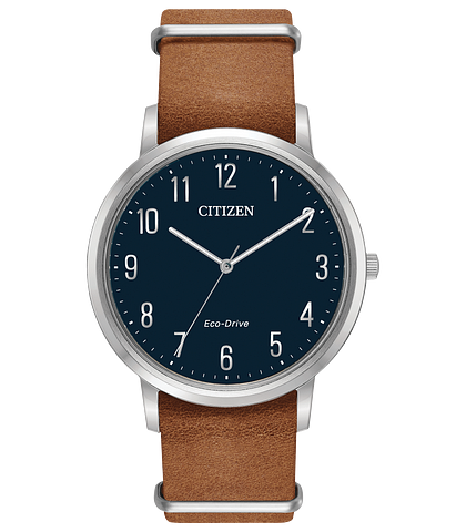 Chandler - Men's Brown Leather BJ6500-12L Navy Blue Watch   Citizen