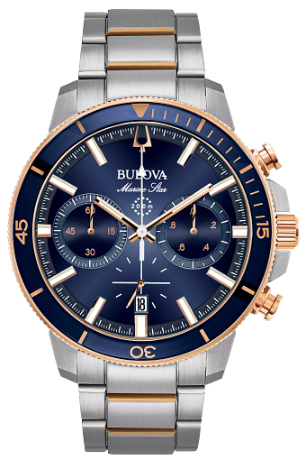 Bulova Marine Star Men's Rose Gold Blue Dial Watch | Bulova