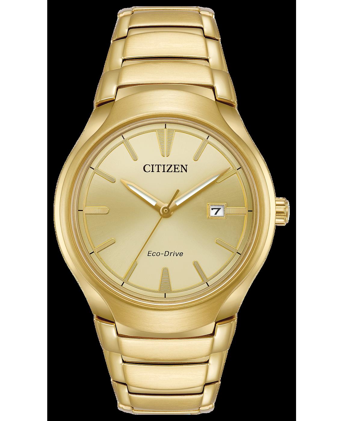Pardigm - Men's Eco-Drive Gold Tone Champagne Dial Date Watch | Citizen