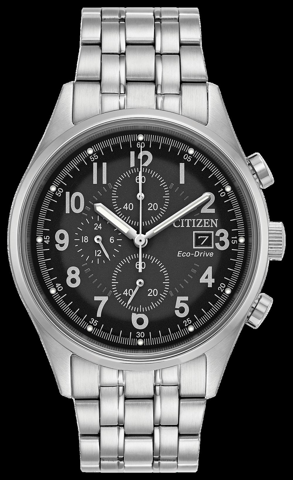 b8035a051 Chandler - Men's Eco-Drive Silver Steel Chronograph Date Watch | Citizen