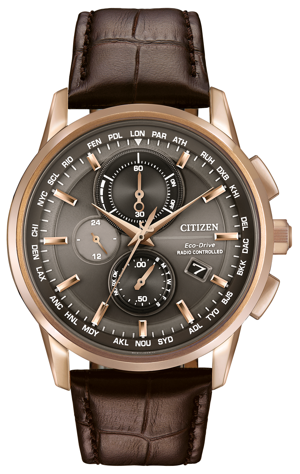 b2dfcc265 World Chronograph A-T -Men's Brown AT8113-04H Leather Watch | Citizen