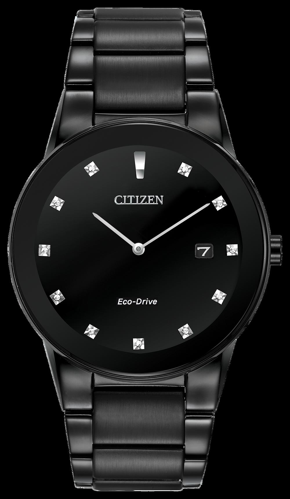 cb634aef3b1 Axiom - Men s Eco-Drive AU1065-58G Black Steel Diamond Watch