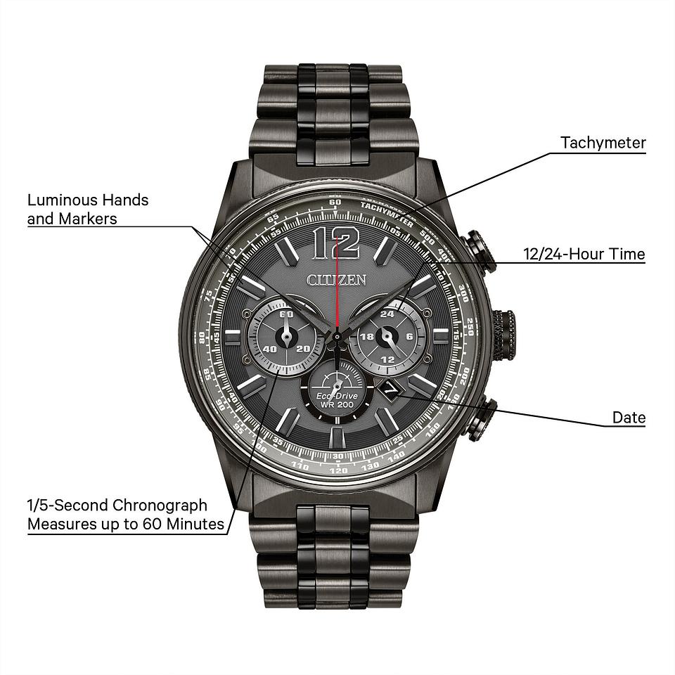 Nighthawk Men S Eco Drive Ca4377 53h Chronograph Watch Citizen