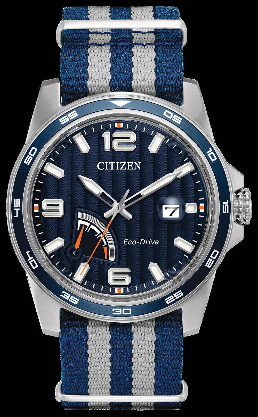 prt men 39 s eco drive nylon strap blue dial watch citizen. Black Bedroom Furniture Sets. Home Design Ideas