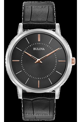 Bulova Classic Men's Black Dial Black Leather Classic Watch | Bulova