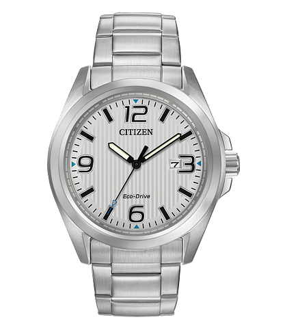 Chandler Men S Eco Drive Silver Stainless Steel Date Watch Citizen