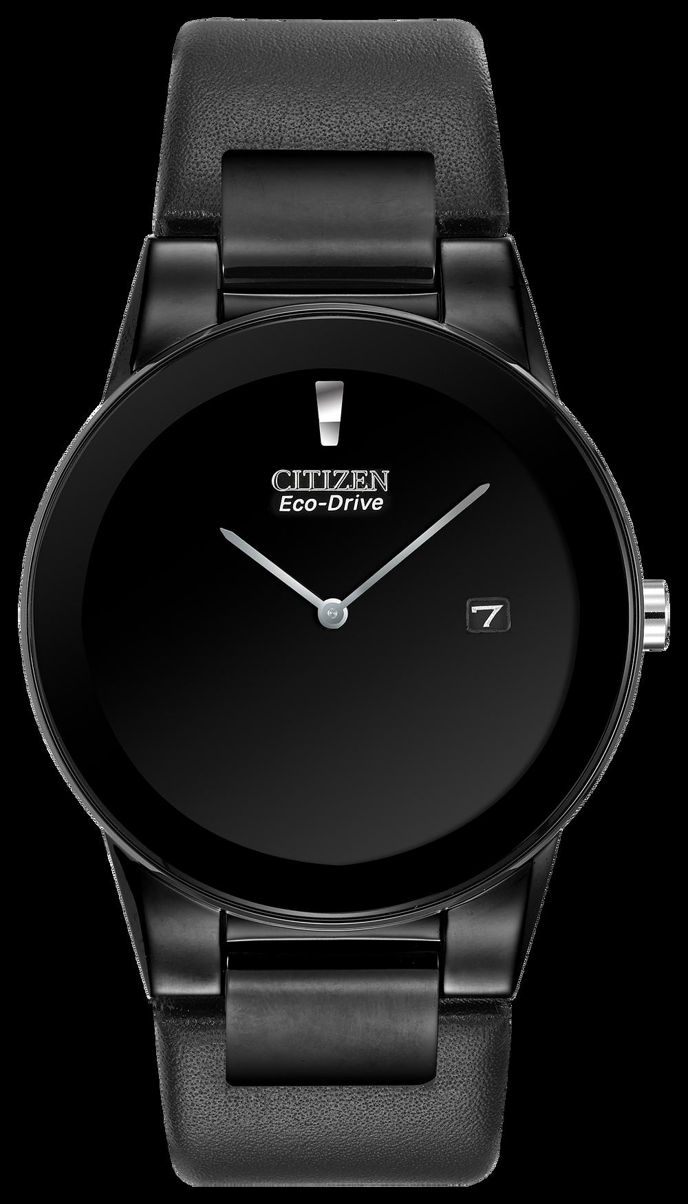 094fda51e Axiom - Men's Black Dial AU1065-07E Black Leather Band Watch | Citizen