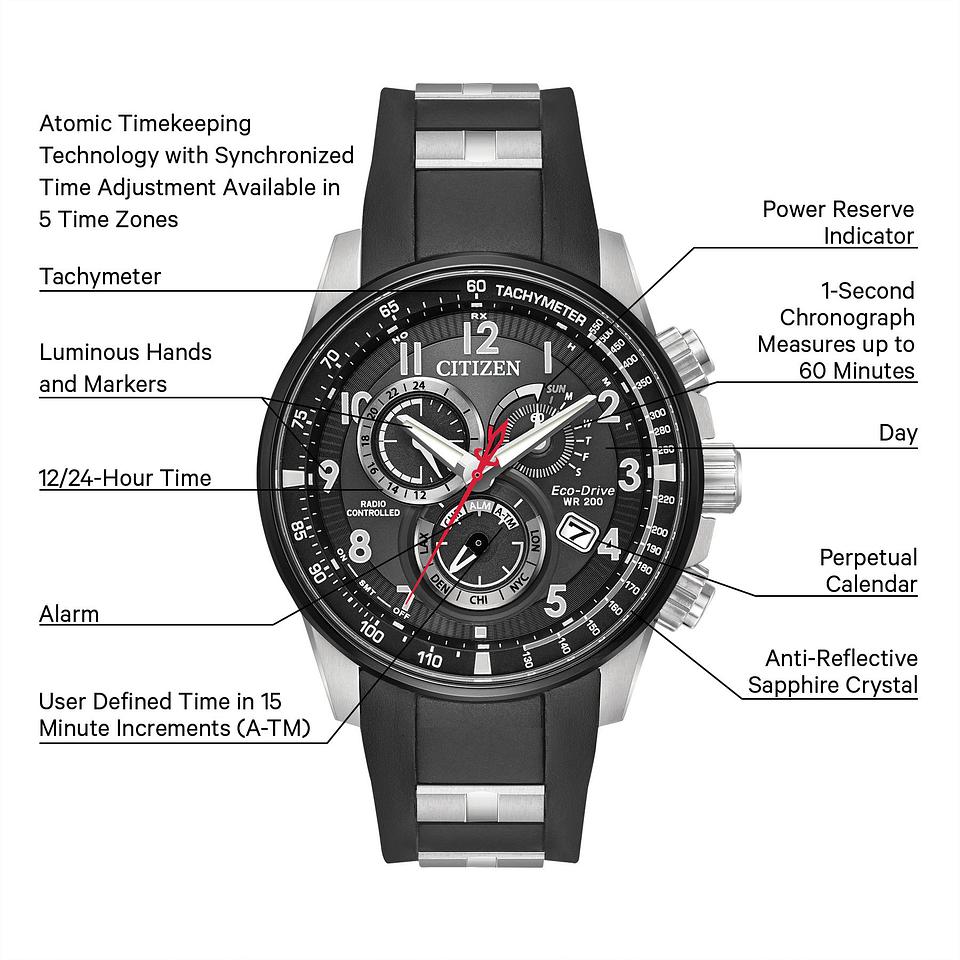 d26533884 PCAT - Men's Eco-Drive AT4138-05E Black Steel Atomic Watch | Citizen