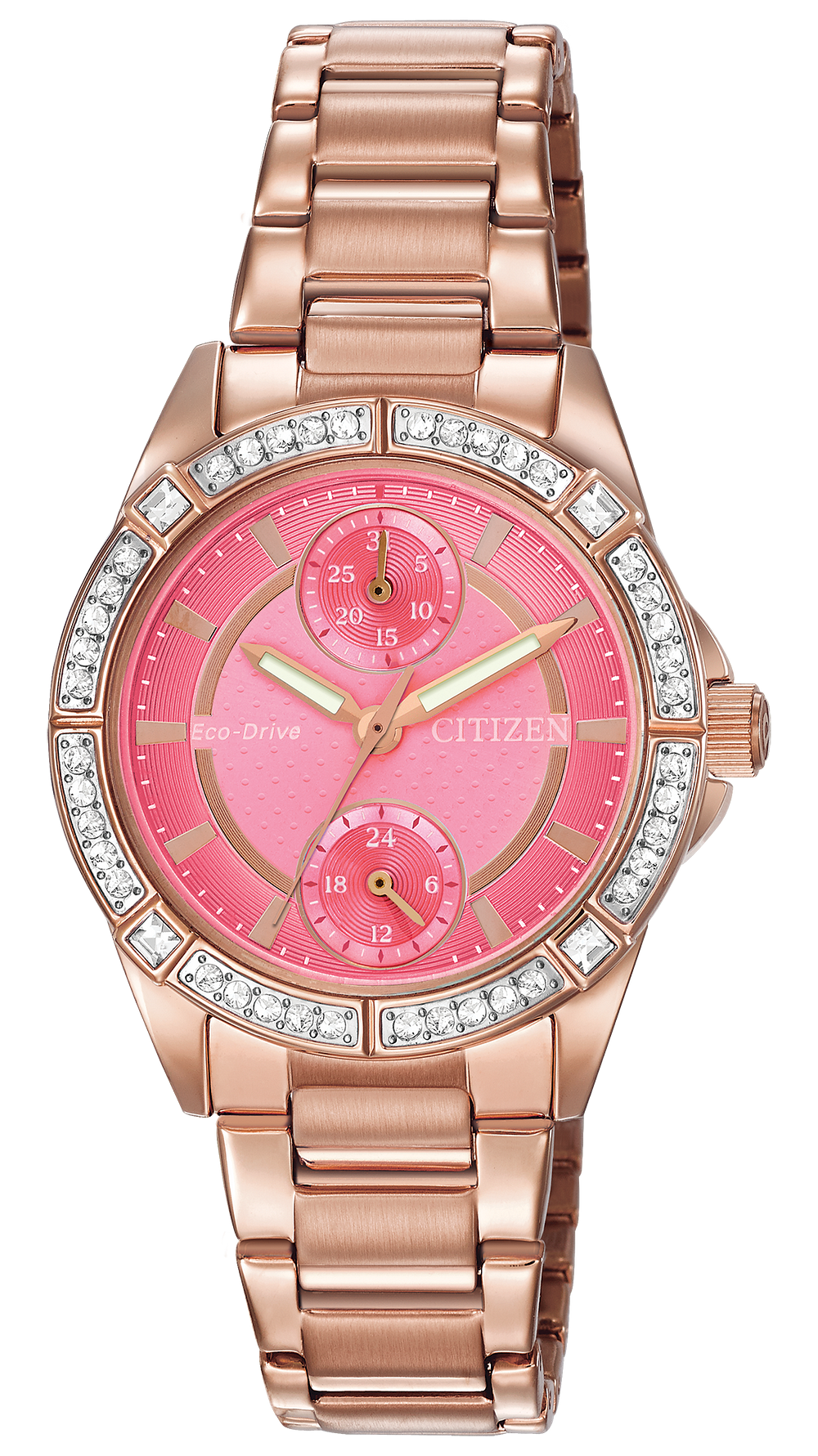 POV - Ladies Eco-Drive Pink Gold Pink Dial Diamond Watch  2465b9132