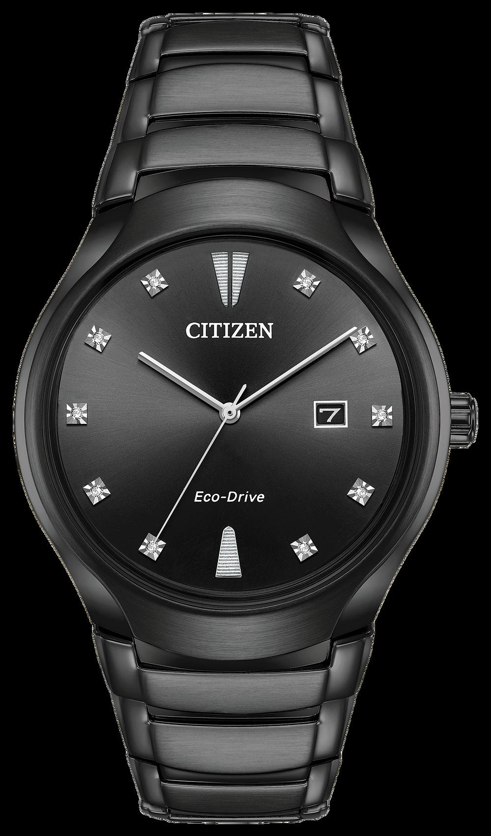 Paradigm - Men's Eco-Drive AW1555-56G Black Diamond Watch ...