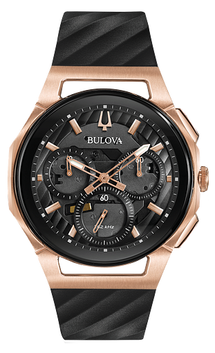 1e722afa4 Men's Chronograph Rose Gold Black Dial Luxury CURV Watch | Bulova