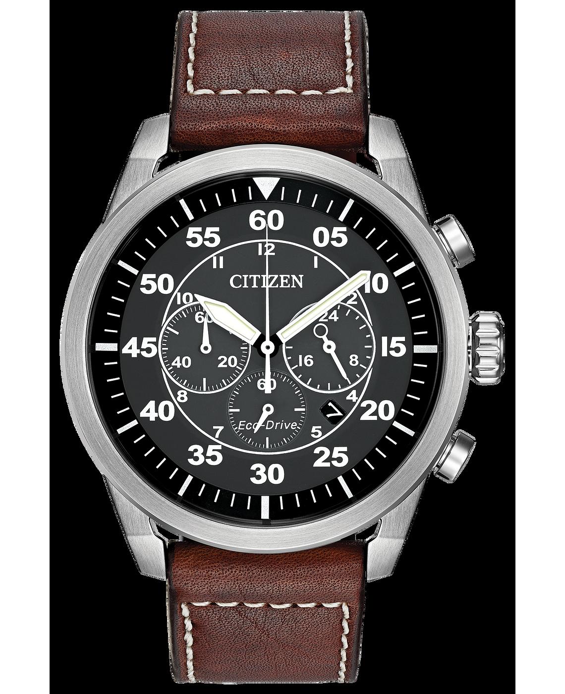 Avion Vintage Men S Eco Drive Ca4210 24e Brown Leather Watch Citizen