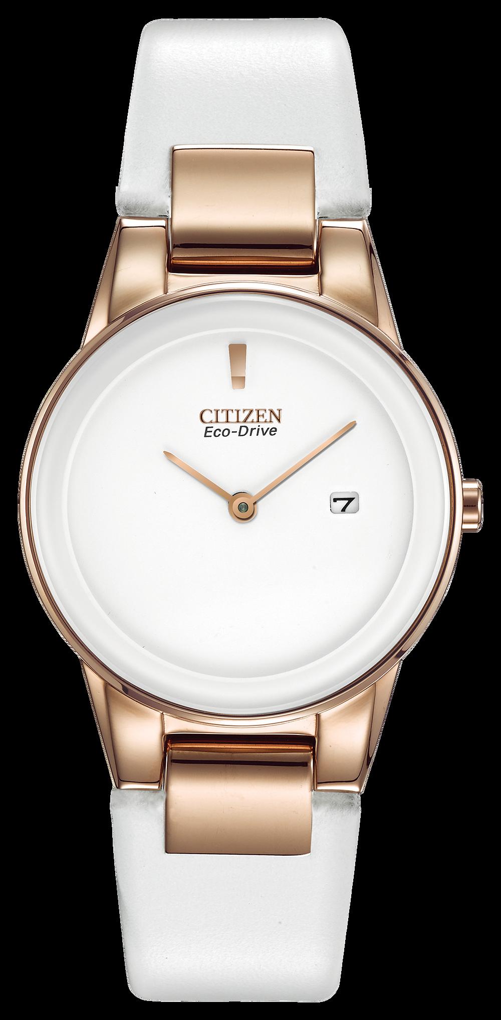 b228fe4a4e7 Axiom - Ladies Eco-Drive GA1053-01A White Leather Strap Watch