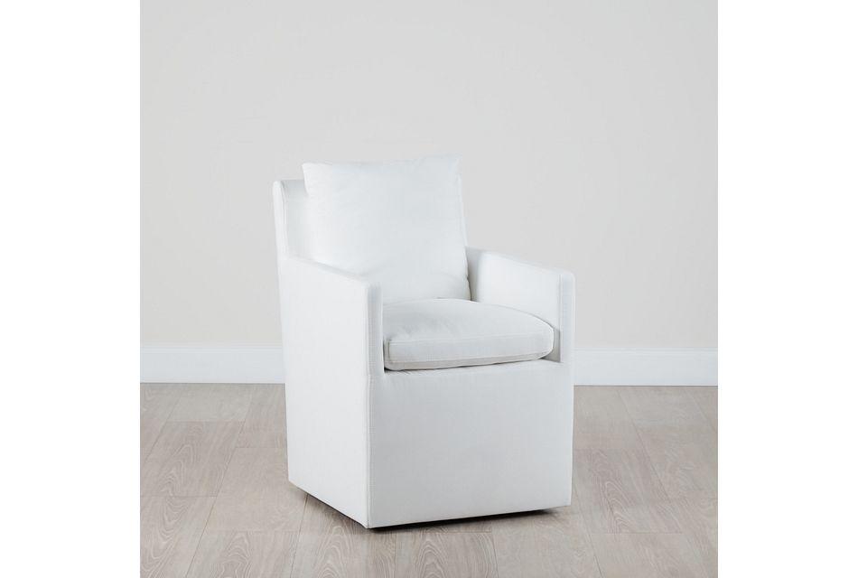 Auden White Castored Upholstered Arm Chair
