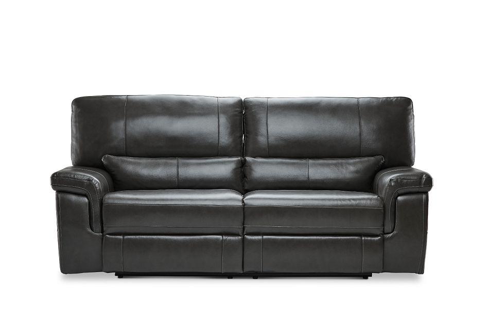 Weston Dark Gray  Lthr/vinyl Reclining Sofa,  (0)