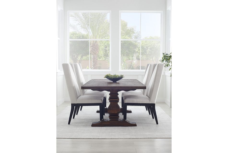 "Hadlow Black 84"" Rectangular Table & 4 Upholstered Chairs"