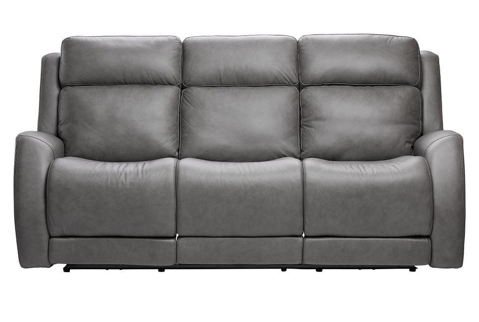 Rawlings Dark Gray Leather Power Reclining Sofa