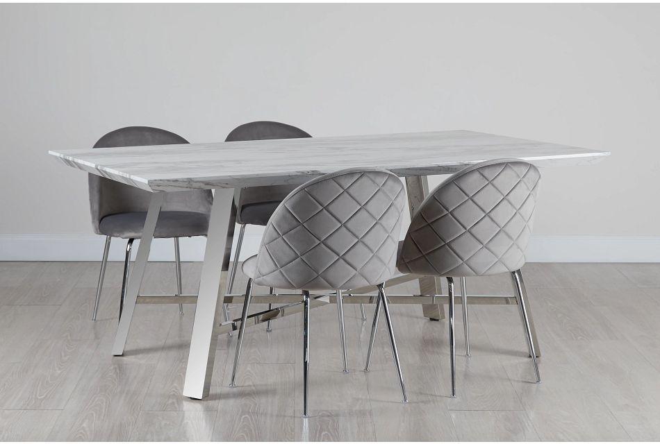 Capri Stainless Steel  GRAY Rectangular Table & 4 Upholstered Chairs,  (0)