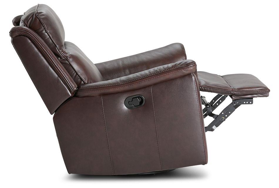 Aiden Brown Leather Swivel Glider Recliner