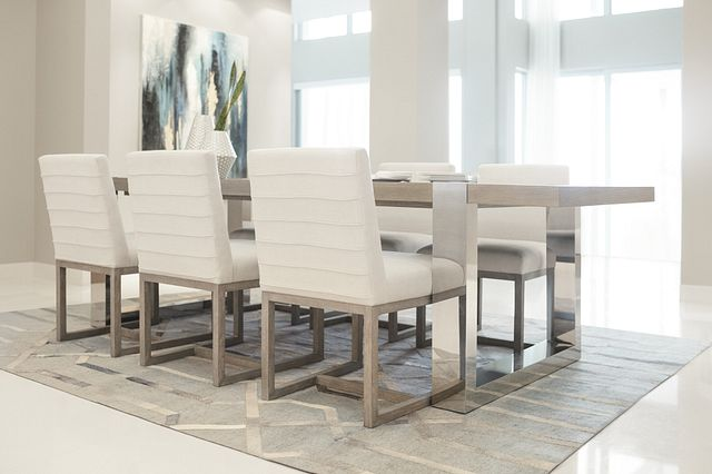 Berlin White Table & 4 Upholstered Chairs (1)