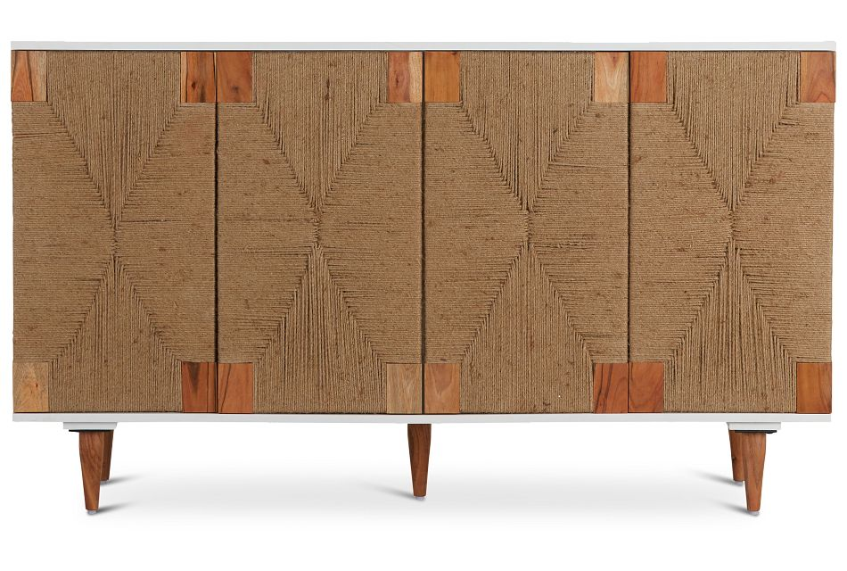 Woven Two-Tone Four-Door Cabinet,  (1)