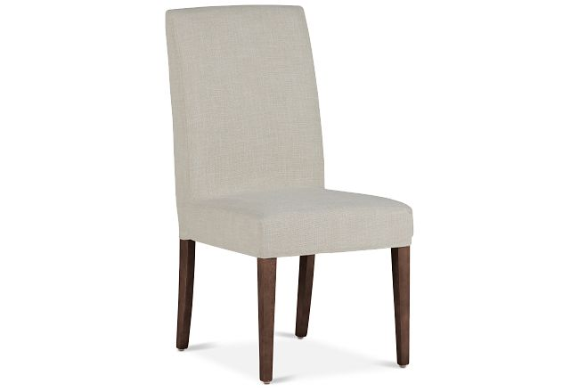 Harbor Light Beige Short Slipcover Chair With Medium-tone Leg
