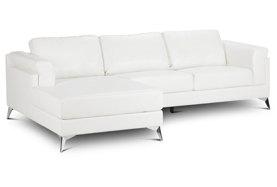 Gianna White Micro Left Chaise Sectional, %%bed_Size%% (1)