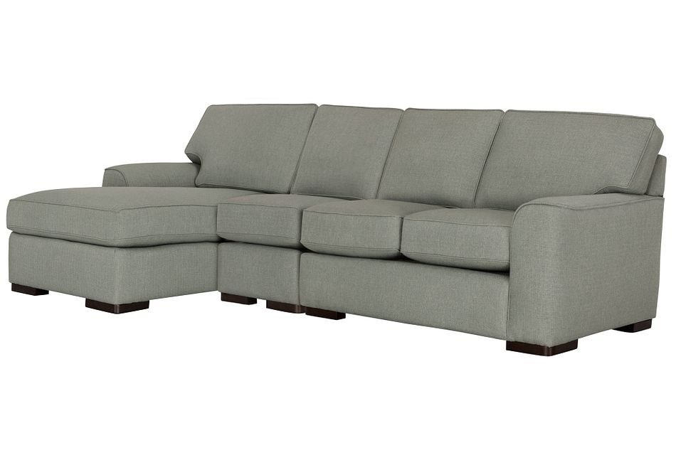 Austin Green Fabric Small Left Chaise Sectional