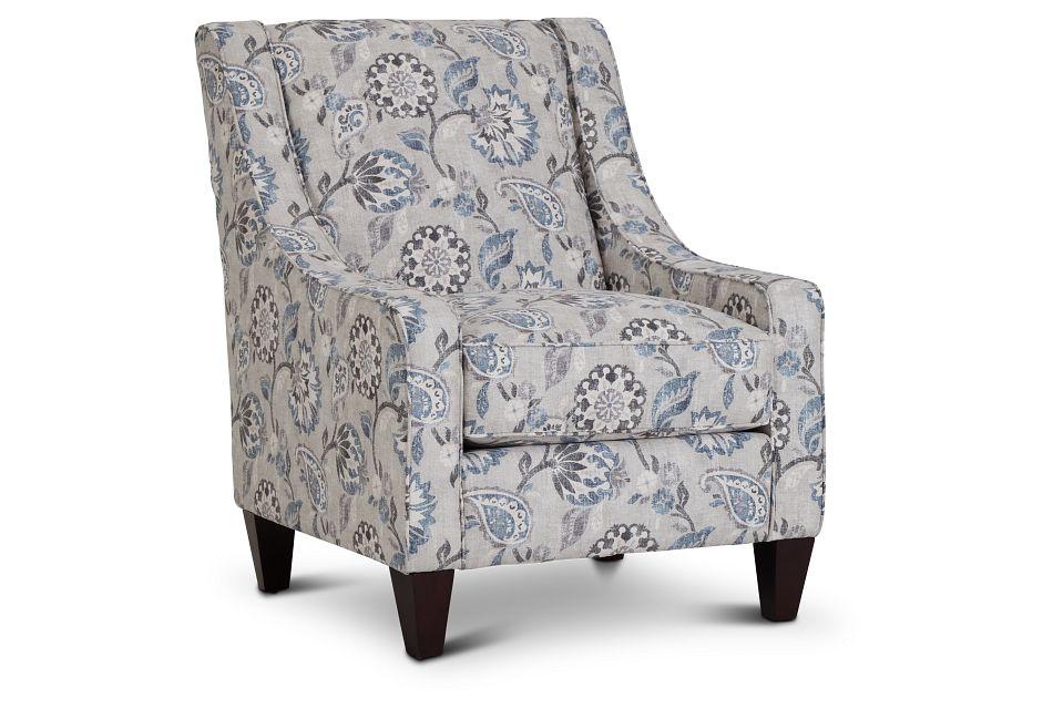 Sylvie Blue Floral Accent Chair,  (1)