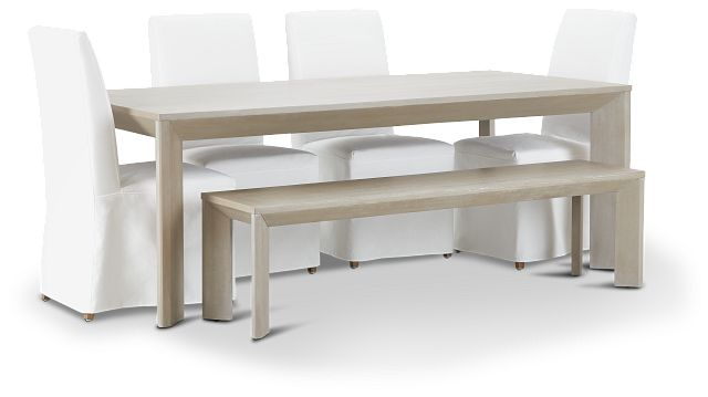 """Destination Light Tone 84"""" Table, 4 Chairs & Bench (1)"""