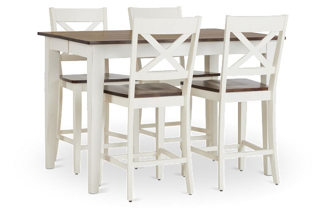 Sumter White High Table & 4 Barstools (1)