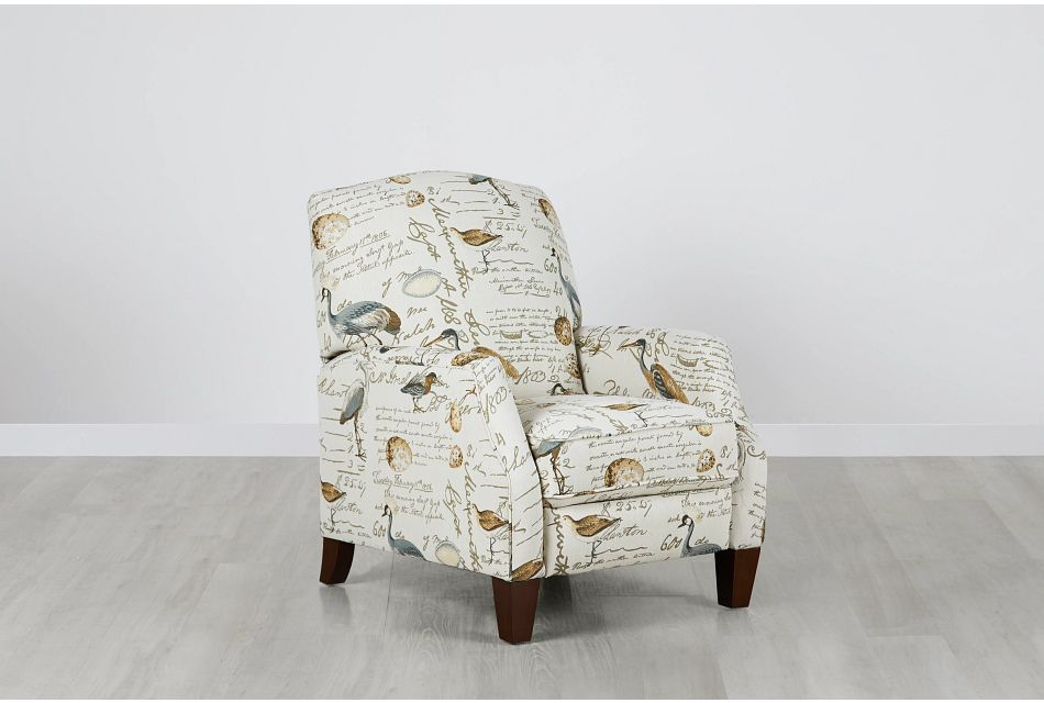 Heron Beige Fabric Push Back Recliner