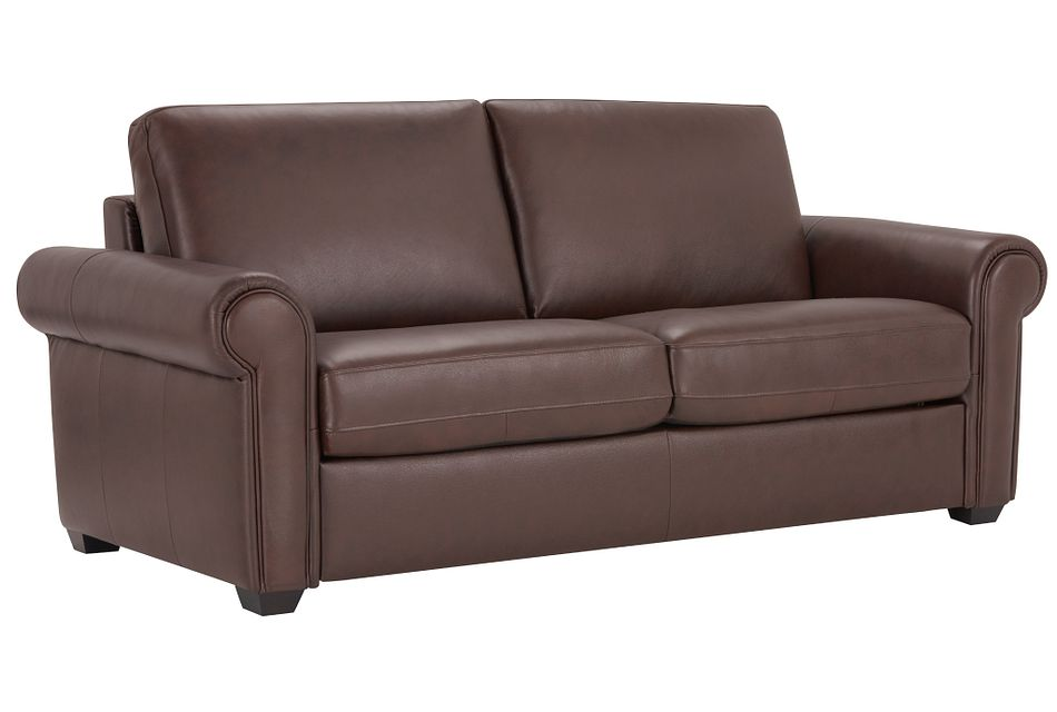 Lincoln Medium Brown Lthr/vinyl Memory Foam Sleeper