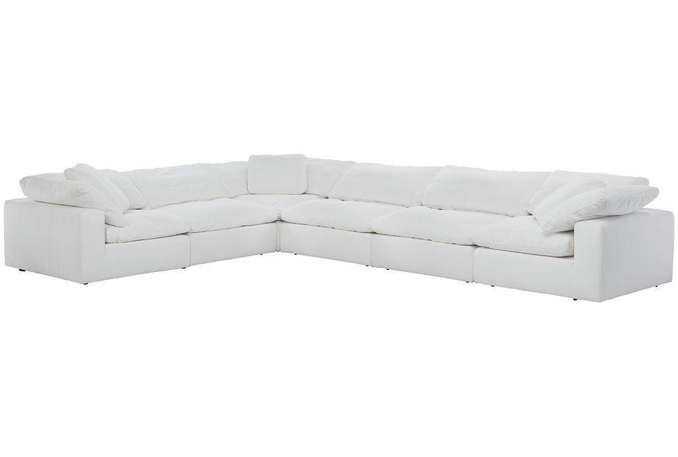 Nixon White Fabric 6-piece Modular Sectional