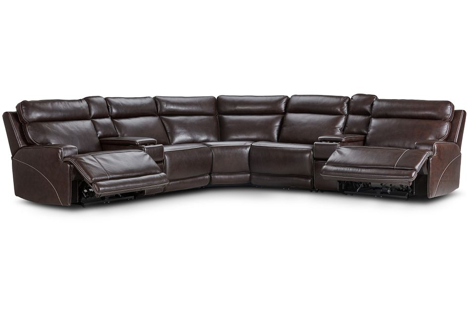 Valor Dark Brown Leather Large Dual Power Reclining Two-arm Sectional