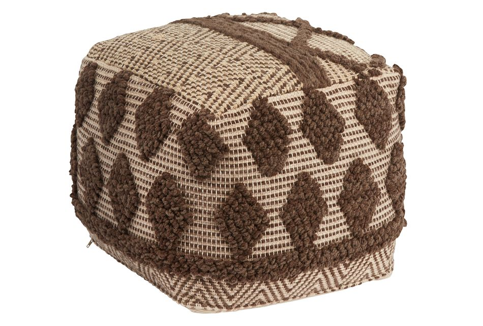 Madsi Dark Brown Accent Pouf