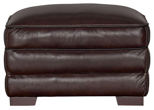 Alexander Dark Brown Leather Ottoman (1)