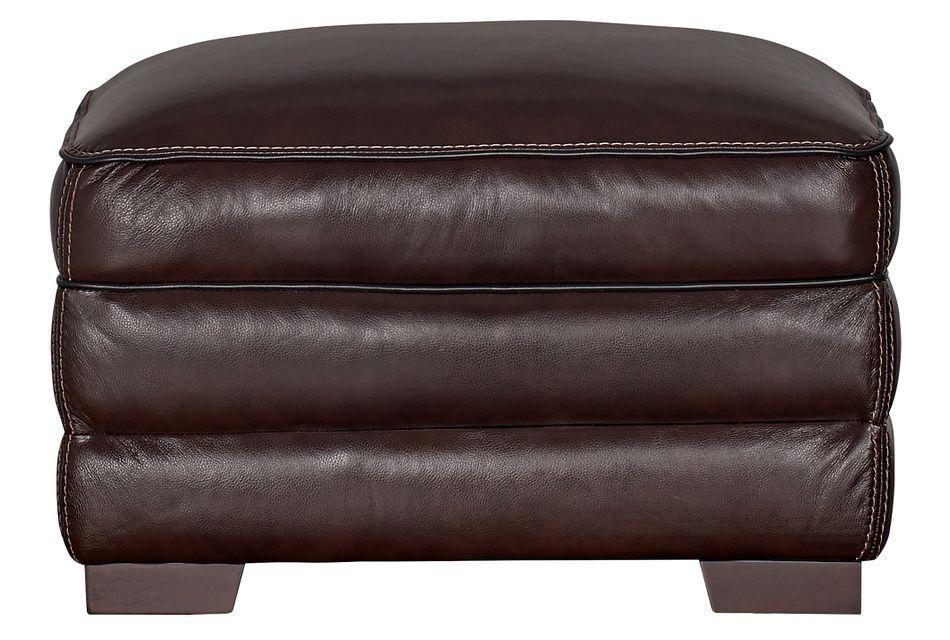 Alexander Dark Brown Leather Ottoman
