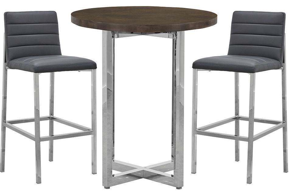 Amalfi Gray Wood Pub Table & 2 Upholstered Barstools