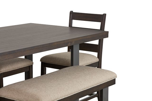 Sawyer Dark Tone High Table, 4 Barstools & High Bench