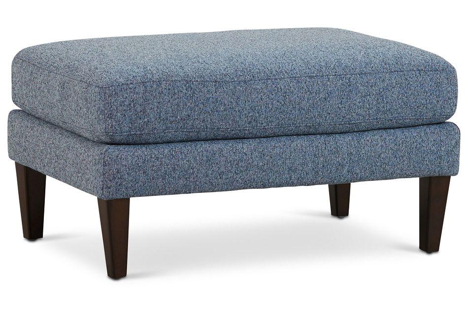 Morgan Blue Fabric Ottoman With Wood Legs
