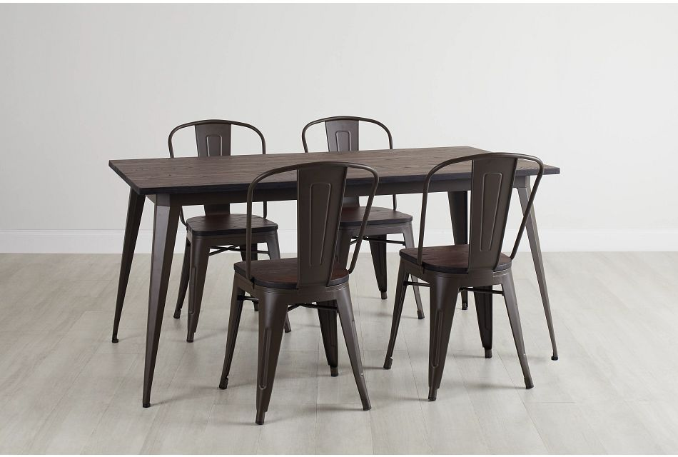 Harlow Dark Tone Rect Table & 4 Wood Chairs