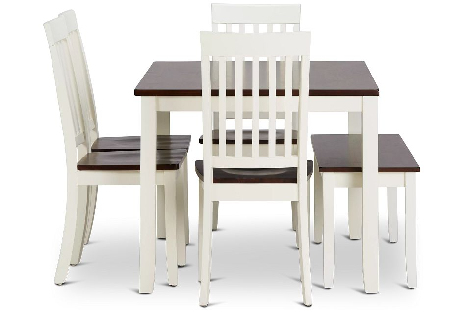 Santos WHITE TWO-TONE Table, 4 Chairs & Bench,  (2)