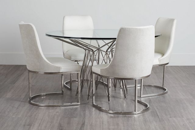 Cullen Glass Round Table & 4 White Upholstered Chairs (0)