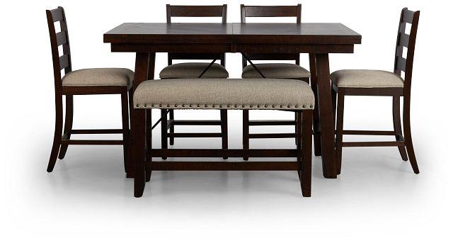 Jax Dark Tone High Table, 4 Barstools & High Bench