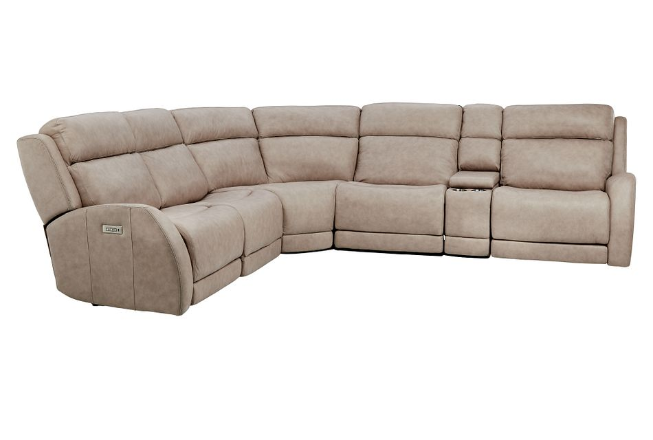Rawlings Taupe Leather Medium Triple Power 2-arm Sectional